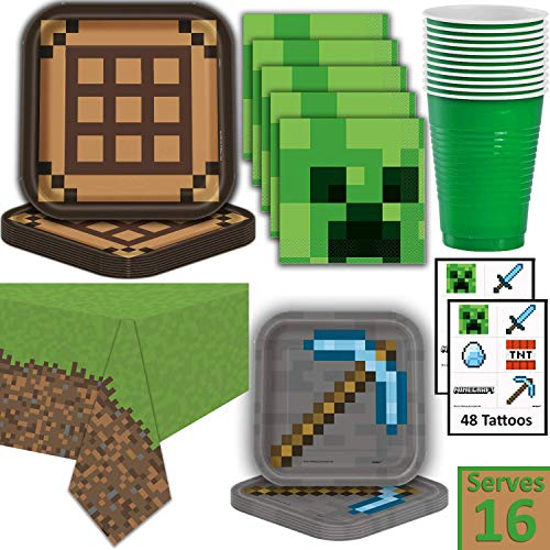 Minecraft Party Supplies for 16 - Dinner Plates, Dessert Plates, Napkins, Cups, Tablecloth, Tattoos - Pixel Mining Theme Birthday Tableware and -