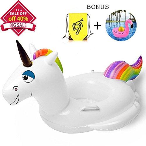 Whiteleopard Baby Pool Float Inflatable Rafts Swim Ring Swimming Pool Toys for Kids- Bonus Carry Bag & Flamingo Drink Float (Horse)