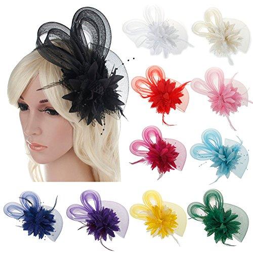 Price comparison product image Bridal Jewelry Elegant Flower Women Stylish Hair Ornament Feather Headband Shimmer Headdress White