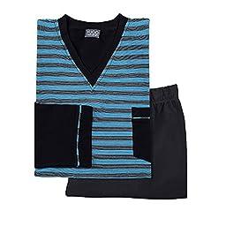 Yugo Sport Men\'s Knit Pajama Set – Luxury Pj Set– V-Neck Long Sleeve Top & Lounge Pant (Medium,Black & Aqua )