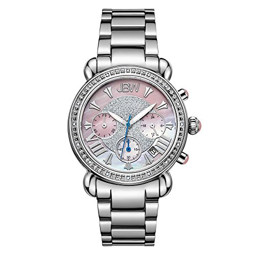 Watch Chronograph Stainless Diamond Steel (JBW Women's JB-6210-F Victory Pink Stainless Steel Diamond Watch)