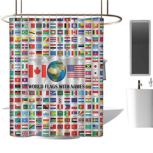 MKOK Polyester Shower curtain60 x72 Flags,Big Collection of World Flags with Names Different Countries Nationalities Patriotic Multicolor,Hand Drawing Effect Fabric Shower Curtains Odorless