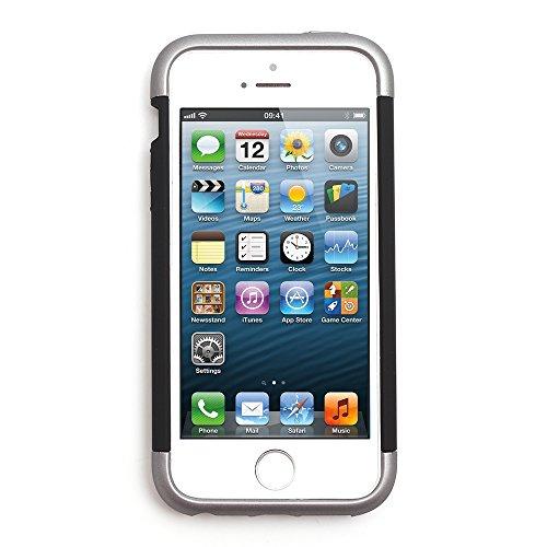 iProtect Apple iPhone 5 5s SE Hülle Hard Case Schutzhülle Dual metallic schwarz und silber