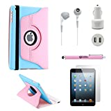 GEARONIC TM iPad Mini/Mini Retina/Mini 3 case (released 2014) 5-in-1 Accessories Bundle Pink and light blue Rotating Case Business Travel Combo