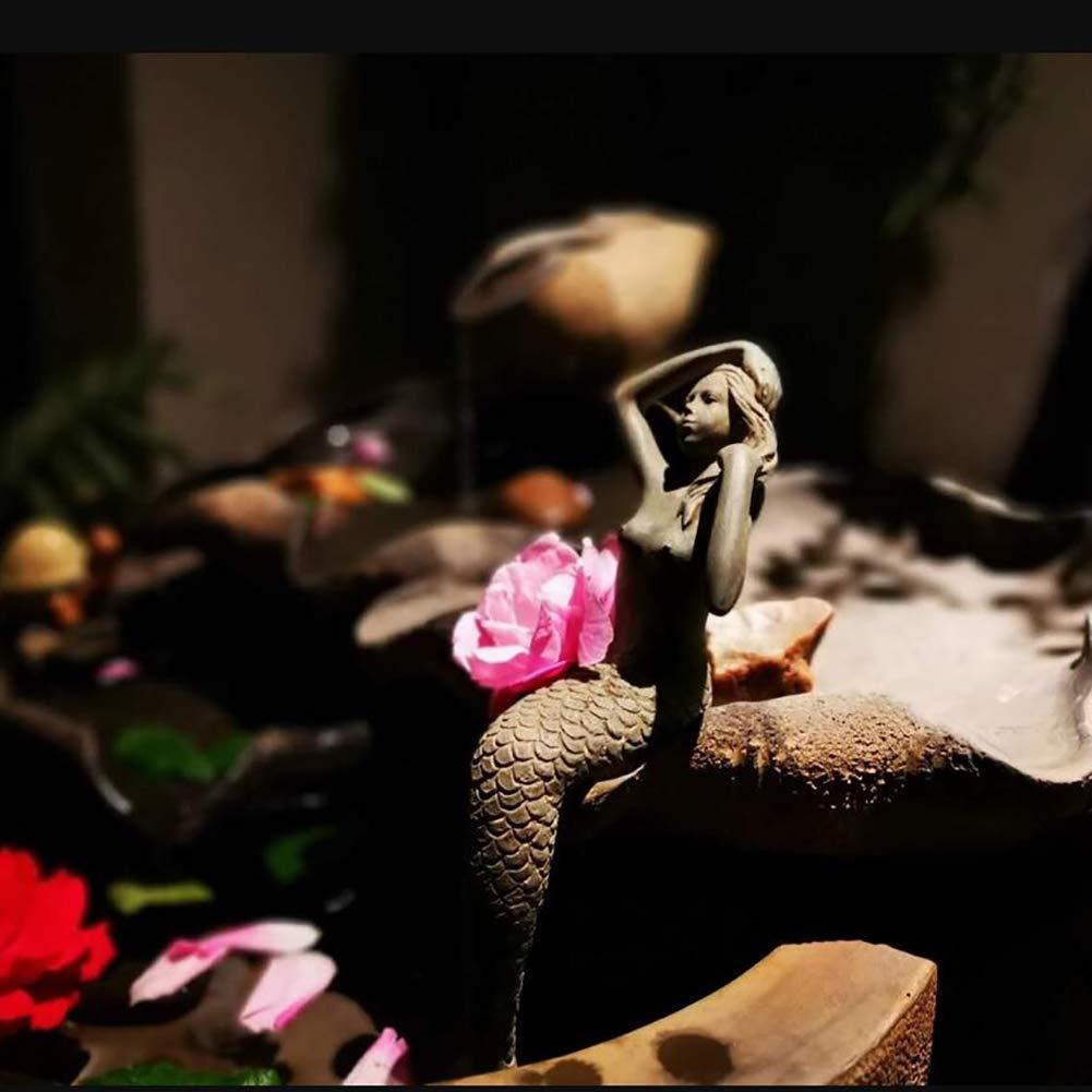 zenggp Meerjungfrau Figur Pool Garten Dekor Hof Ornament Harz Sitzende Schwanz Heraus