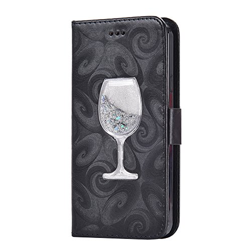 Dynamic Card - Samsung S5 Case,Bling Glitter Dynamic Liquid Wine Glass Design PU Leather Wallet Flip Case with Kickstand and Card Slots Protective Cover for Samsung Galaxy S5 i9600