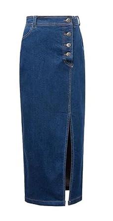 Mujer Retro Azul Vaquero Maxi Largo Side Split Workwear Vestido de ...