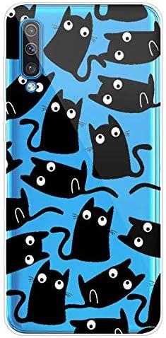Herbests Kompatibel mit Samsung Galaxy A70 Handyhülle Transparent Silikon TPU Schutzhülle Tier Muster Klar Durchsichtig Crystal Clear Dünn Kratzfest Stoßfest Case,Schwarz Katze