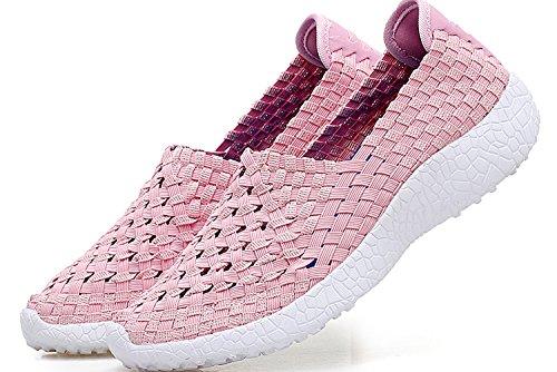 Noblespirit Kvinna Ultralätta Multi Vävda Mode Sneakers Rosa