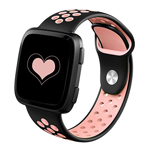 DEKER Sport Bands Compatible for Fitbit Versa Bands Women Men, Small Large Breathable Soft Fitness Sport Silicone Strap Replacement Accessories Wristbands (Black/Pink, Small)