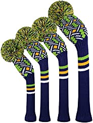 Scott Edward Personalized Knit Golf Club Covers 4 Counts for Woods and Driver Fit Max Drivers Fairways Hybrids