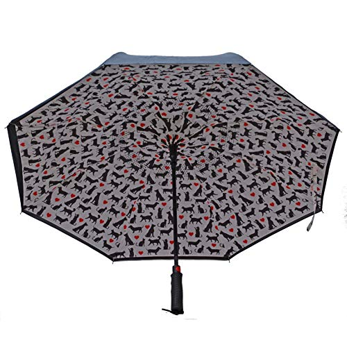 - Dogs and Cats Heart Black 31 inch Polyester and Fiberglass Inverted Umbrella
