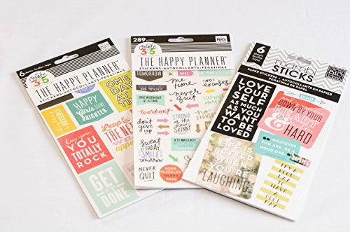 Combination Pack of me & my Big ideas The Happy Planner Fitness Stickers, The Happy Planner Get It Done Stickers, and The Happy Planner Love Yourself Stickers