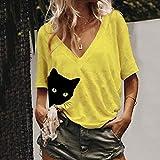Women Fashion V-Neck Printed Cat Half Sleeve Shirt