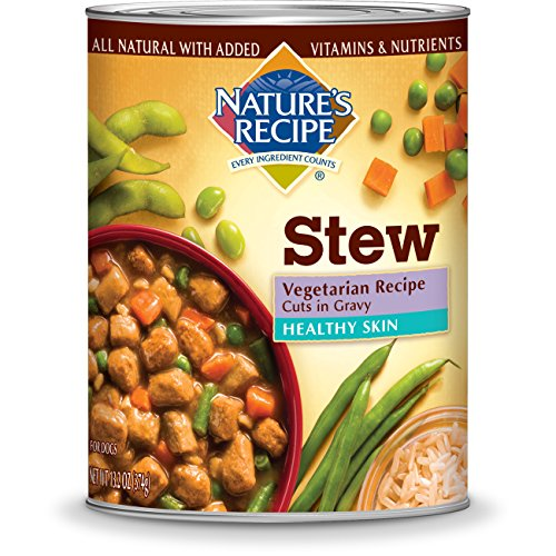 Nature's Recipe Healthy Skin Wet Dog Food Cans, Vegetarian Recipe, Cuts In Gravy, 13.2-Ounce (Pack of 12)