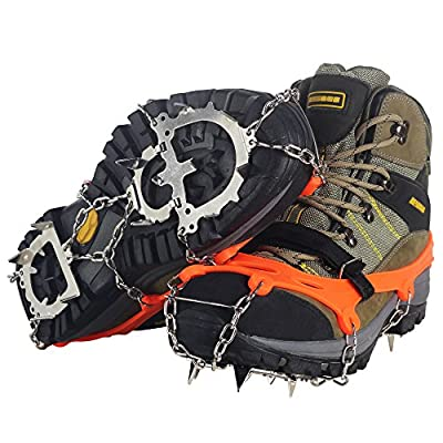 Ice Snow Cleat Spikes Crampons - YUEDGE Ice Snow Antiskid Crampons Spikes Grips Traction Cleats With Velcro Straps For Winter Walking Fishing Hiking