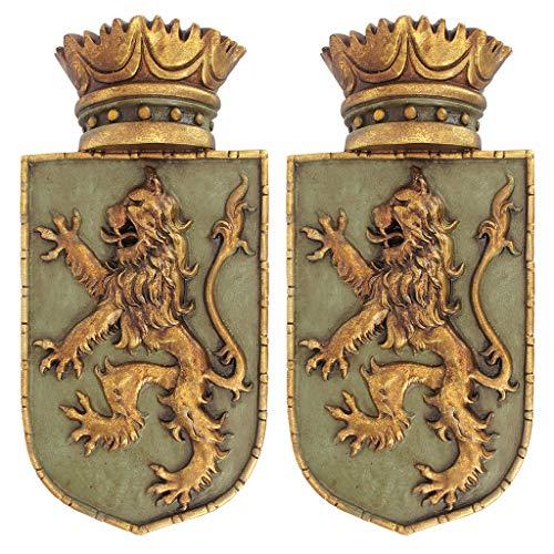 Medieval Sculpture - Design Toscano Medieval Rampant Lion Crest Medieval Decor Wall Sculpture - Set of Two, 14 Inch, Polyresin, Full Color