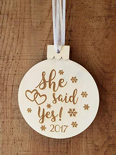 She Said Yes Engagment Ornament