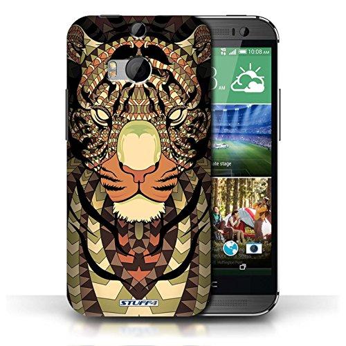 Etui / Coque pour HTC One/1 M8 / Tigre-Sépia conception / Collection de Motif Animaux Aztec