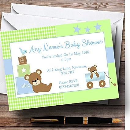Azul Y Verde Osos Personalizado Baby Shower Invitaciones 90