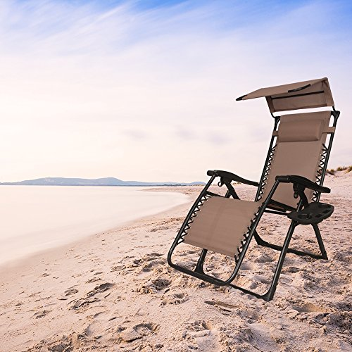 EACHPOLE Outdoor Zero Gravity Infinity Lounge Chair with Canopy for Sun and Cup Holder for Patio, Brown, APL1556