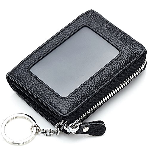 Keyring Window Wallet ID Unisex with Card Black Aiklin Leather and Credit Iw01TIxz