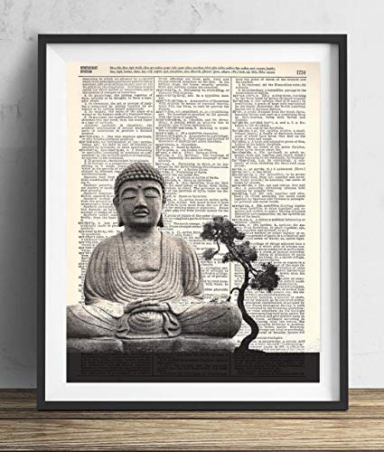 Buddha With Tree Vintage Dictionary Art Print 8x10 (Buddha Art Prints)