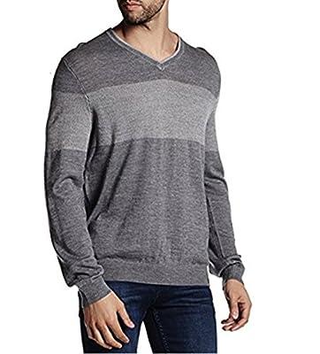 Calvin Klein Mens Colorblock V-Neck Sweater (Medium, Albenga Gray)