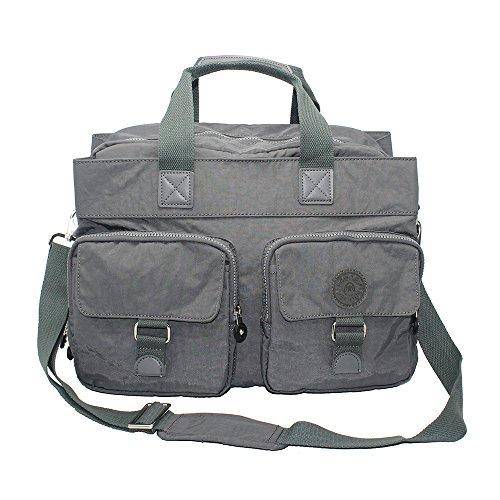 IHONEY 15.6'' Laptop Messenger Bag Nylon Shoulder Crossbody Bag (grey)  by IHONEY