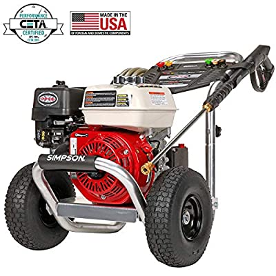Simpson Cleaning at 2.5 GPM Gas Pressure Washer Powered by Honda with CAT Triplex Pump