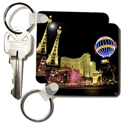 - 3dRose Paris Hotel 2.25 x 2.25 Inches Key Chains, Set of 2 (kc_37789_1)