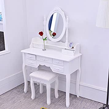 【Dressing Table Set With 7 Drawers + Makeup Chair】BigTree White Dressing  Table For