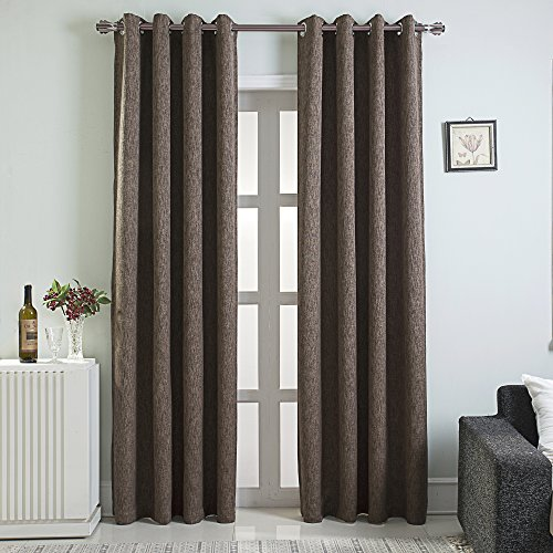 - LAMBARY Grommet Blackout Curtains 2 Panels Set for Bedroom Thermal Insulated Window Draperies Room Darkening Drapes for Living Room 84 Inches Long Chocolate Brown