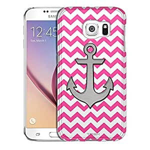 Samsung Galaxy S6 Case, Slim Snap On Cover Anchor on Chevron Zig Zag Pink and White Case