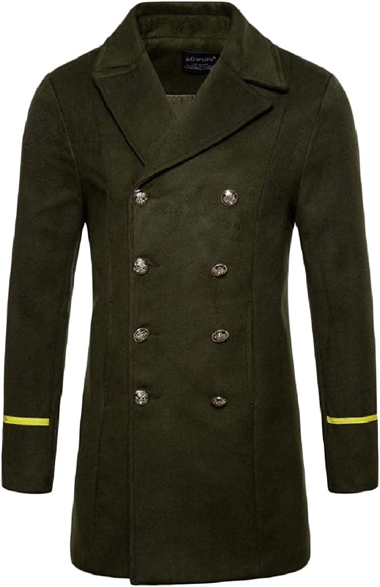 MirrliyMen Fashion Double-Breasted Lapel Long Sleeve Casual Mid-Long Pea Coat