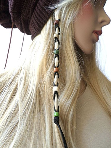 Ginga's Galleria Bead Leather Hair Ties Wraps Hair Jewelry Black Suede (Earth Tones) - Beaded Braids