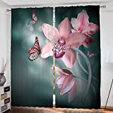 Cheap Floral Custom design Orchid Flower with Butterfly Soft Fresh Spring Nature Theme Art Photo curtain Living Room Bedroom Window Drapes 2 Panel Set 108″x84″ Baby Pink and Jade Green