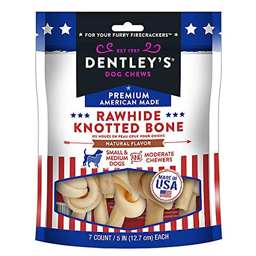 Bones Chews Dog Rawhide Knotted (Dentleys Premium American Made Rawhide Knotted Bone Dog Treats - Natural Flavor)
