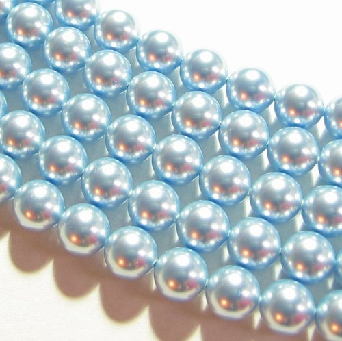 4 pcs Swarovski 5810 Round Crystal Pearls Light Blue 12mm / Findings / Crystallized Element