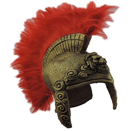[Gold Latex Lion Emblem Greek Roman Crested Costume Helmet] (Trojan Man Costumes)