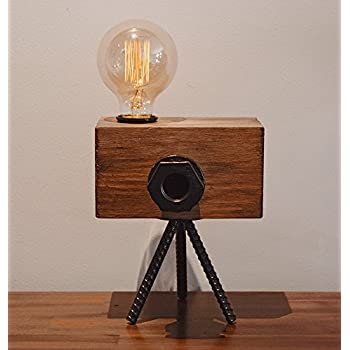 Real Wood Table Lamp Industrial Vintage Edison Bulb   Creative Camera Shape  Unique Style   Free