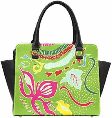 e4f0e150746b Interestprint Custom Green Organic Abstract Pattern Classic Women Top  Handbag Shoulder Bag