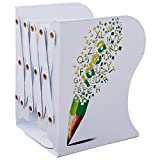 Loghot Adjustable Pencil Pattern Metal Bookends Heavy Duty Non-Skid Book Holder Book Stand Book Racks for Home Office Decoration (Style1)