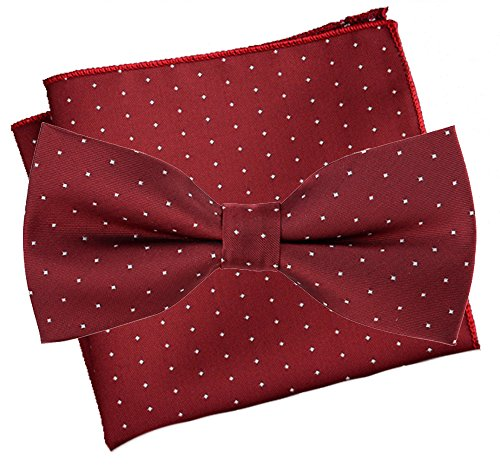 Flairs New York Polka Dots Collection Bow Tie & Pocket Square Matching Set (Rose Red / White [Mini Polka Dots]) (Red Rose Collection)