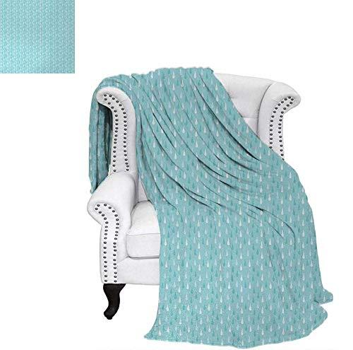 Light Blue Beach Blanket Simplistic Fall Season Shower Teem Down Deluge Heavy Rain Drops Shapes Print Weighted Blanket 50 x 30 inch Blue White