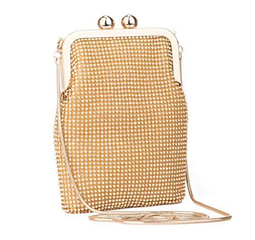 Evening Clutches Shoulder Bag for Women Luxury Full Rhinestones Small Cell Phone Purse Party Prom Wedding Purse (2, Gold)