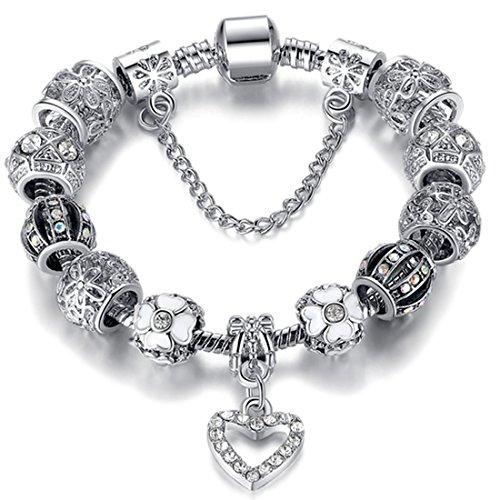 (Free Ship Deal Womens Stainless Steel Heart Charm Chain Bracelet Adjustable | Sterling Silver Heart Charm Bracelet | Heart Charm Bracelet, Silver Heart Pendant Bracelet | Best Jewelry Gift - 18 cm)