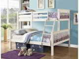 Home Source Novaro Pinewood Triple Bunk Bed, MDF/Chipboard, White, Double, 150 x 145 x 202 cm