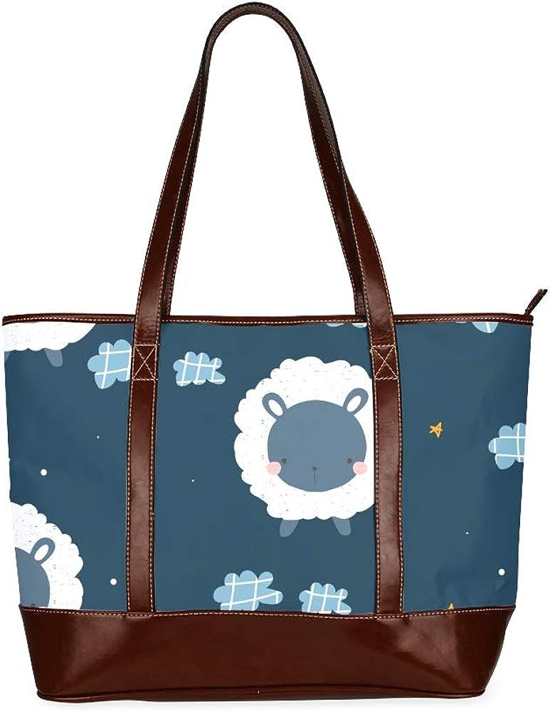 Tote Bags Childish Pattern Cute Sheep Night Travel Totes Bag Fashion Handbags Shopping Zippered Tote For Women Waterproof Handbag