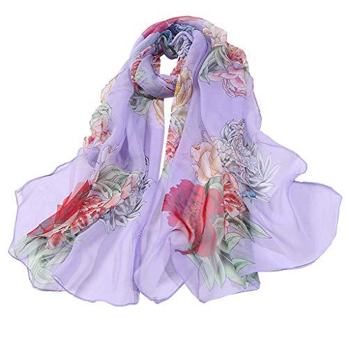 TIFENNY Ligtweight Scarf for Women Flower Print Long Soft Wrap Scarf Simulation Silk Mesh Shawl Scarves]()